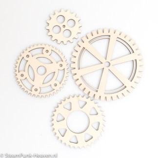 Steampunk Zahnrad-Set Bentley, Holz, 4 Stück