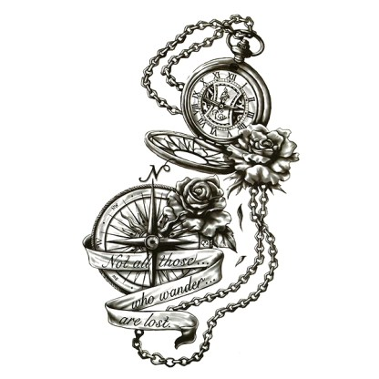 Steampunk Tattoo Not all those who wander are lost