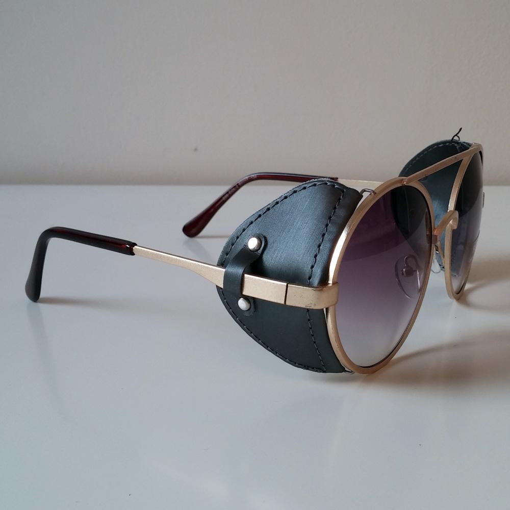 Purple Amp Gold Toned Sunglasses With Fabric Windguard