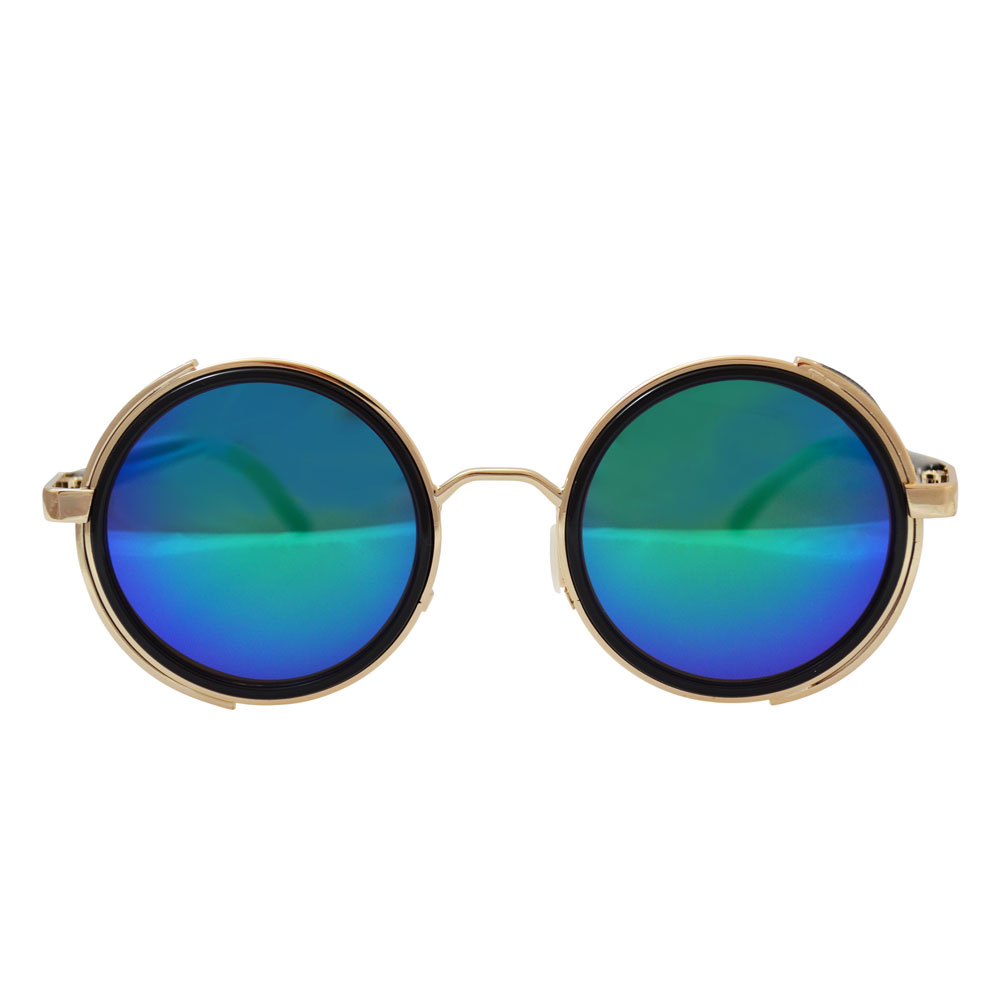 Round Sunglasses Gold BlueGreen Mirror Lenses Side Shields