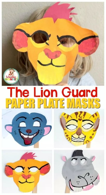 The Lion Guard paper plate masks pinterest image