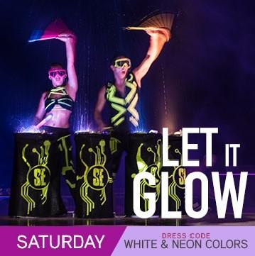 Temptation Resort Theme Night Saturday Let It Glow White & Neon Colors