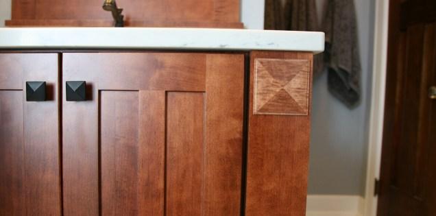 Craftsman Style Master Bath Remodel in Elkhorn - moon-shaker-door-and-quartz-edge-detail11