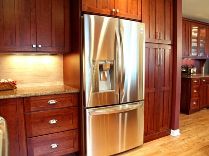 Kitchen with Built-in Curio Cabinet in Williams Bay - kitchen-ref-wall-detail-640x480_c