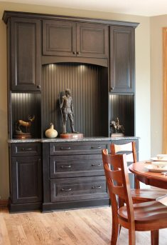 Black recessed panel hutch with granite counter top