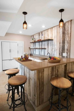Kitchenette area featuring reclaimed barn board
