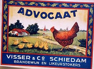 Reclameplaat voor Advocaat met kip & kuikens, jaartal onbekend, collectie Stedelijk Museum Schiedam