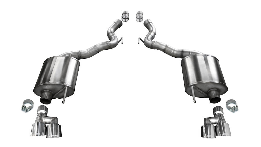 corsa 21050 mustang gt 5 0l convertible 3 dual axle back exhaust with 4 quad polished tips 18 21