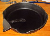 A cracked cast iron pan