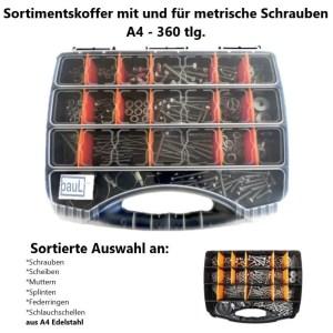 Sortimentskoffer mit und für metrische Schrauben Set 1 - A4 - Koffer schwarz - 360 tlg.