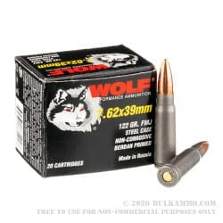 7.62x39 | Wolf - FMJ Steel Cased - 123 Grains - 20 Rounds