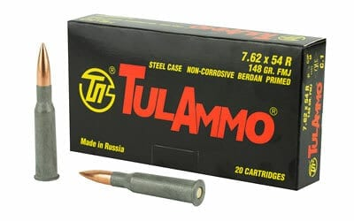 7.62x54R | Tula - FMJ Steel Cased - 148 Grains - 20 Rounds