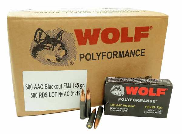 .300 AAC | Wolf - FMJ Steel Cased - 145 Grains - 500 Rounds (FREE SHIPPING)
