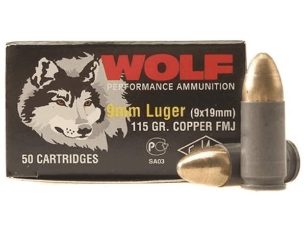 9mm Luger | Wolf - FMJ Steel Cased - 115 Grains - 1000 Rounds