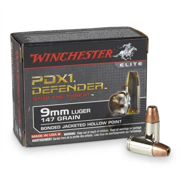 9mm Luger   Winchester PDX1 Defender - JHP - 147 Grains - 20 Rounds