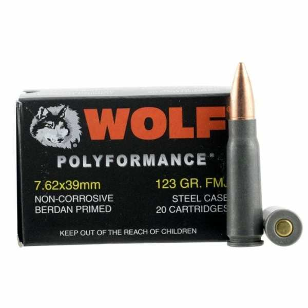 7.62x39 | Wolf Performance - FMJ - 123 Grains - 20 Rounds