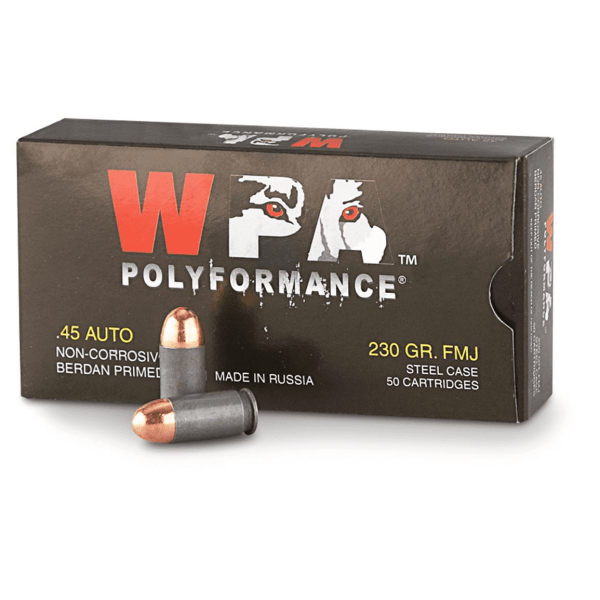 .45 ACP   Wolf - FMJ Steel Cased - 230 Grains - 50 Rounds