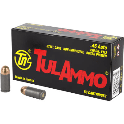 .45 ACP   Tula - FMJ Steel Cased - 230 Grains - 50 Rounds
