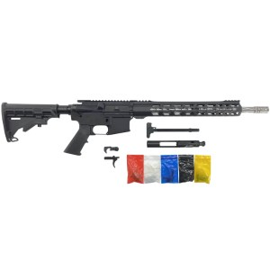 AR-15 Rifle Kit, 16 SS Spiral Fluted Barrel, 15 Keymod Handguard, w 80% Lower Receiver - Black