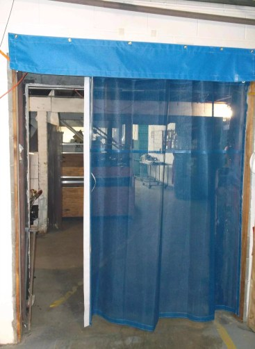 Industrial Garage Door Curtain between two Warehouse Rooms with Sliding Track System
