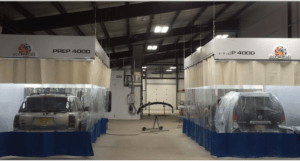 Spray paint booth curtains contain paint overspray, contain paint odors and prevents outside contamination.