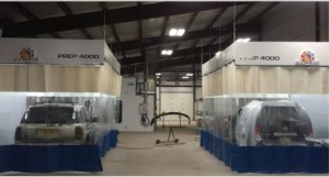 Spray paint booth curtains can contain overspray that could compromise other areas of the facility.