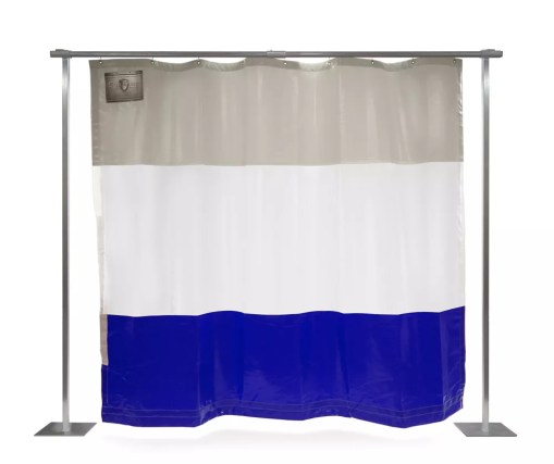 blue white grey industrial curtain
