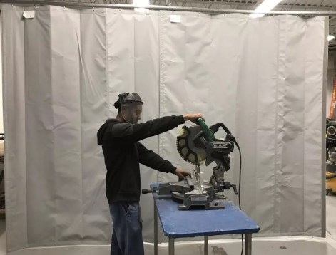 Industrial Noise Control Curtains Fold Out of the Way When Not in Use and are Excellent for Blocking Sound in Cutting & Grinding