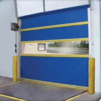 Vinyl Roll Up Door with Clear Window on Interior of Warehouse