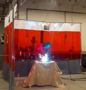 Welding Curtain Cell and Welding Blanket Protection During Arc Welding