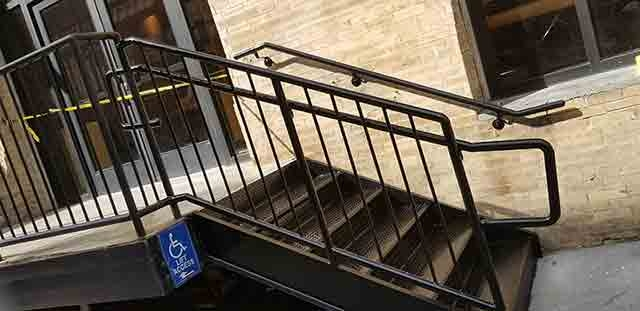 Outside Metal Steps With Picket Guardrails And Piperail Steel | Outside Metal Stair Railing | Steel | Concrete | Steel Handrail | Porch | Outdoor Stair
