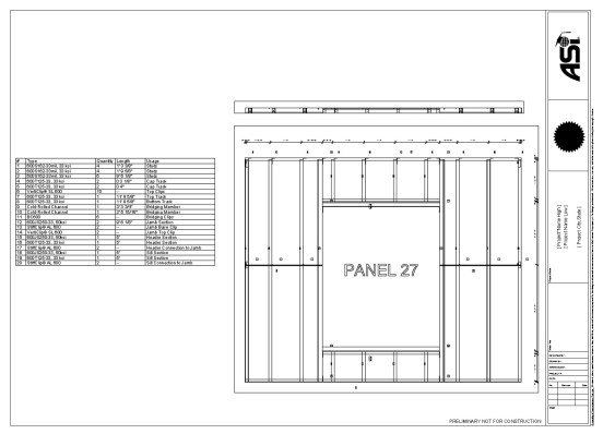 SteelSmart®Framer panel drawings with a complete panel material list