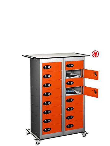 Probe steel 16 door charging trolley tab box orange