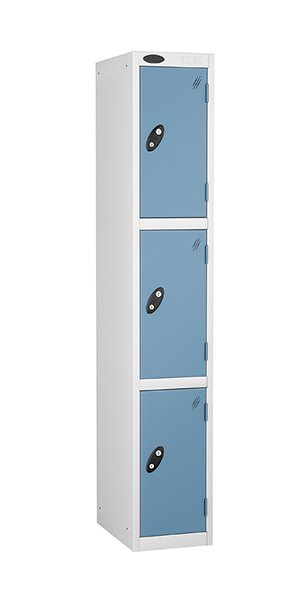 probe 3 doors steel locker blue