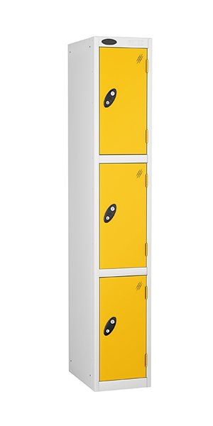 probe 3 doors steel locker yellow