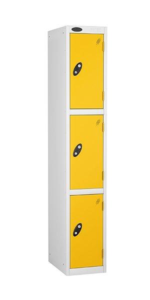 probe 3 doors steel locker yellow
