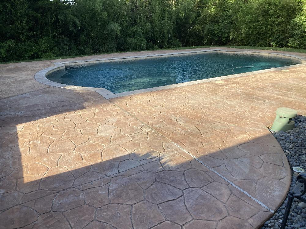 stamped concrete patio cleaning and
