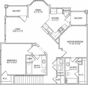 2 Bed / 2 Bath / 1,201 sq ft