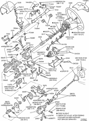 exploded view for the 1996 Ford F 150 tilt   Steering Column Services