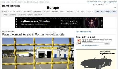 NewYork Times Artikel über Pforzheim