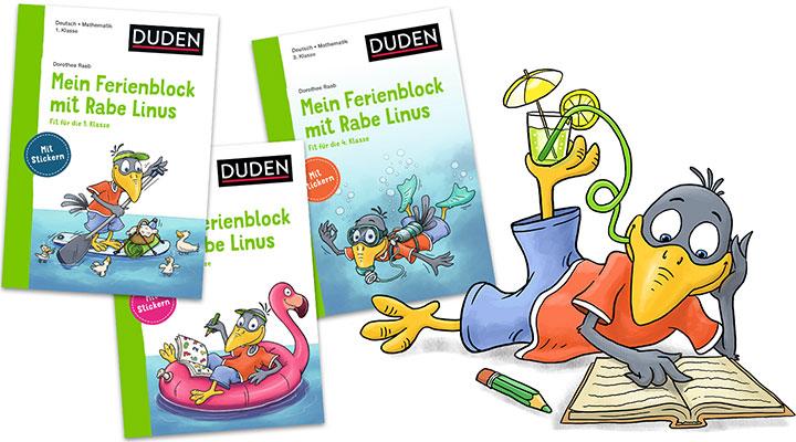 characterdesign-illustration-leitfigur-rabe-linus-ferienblock