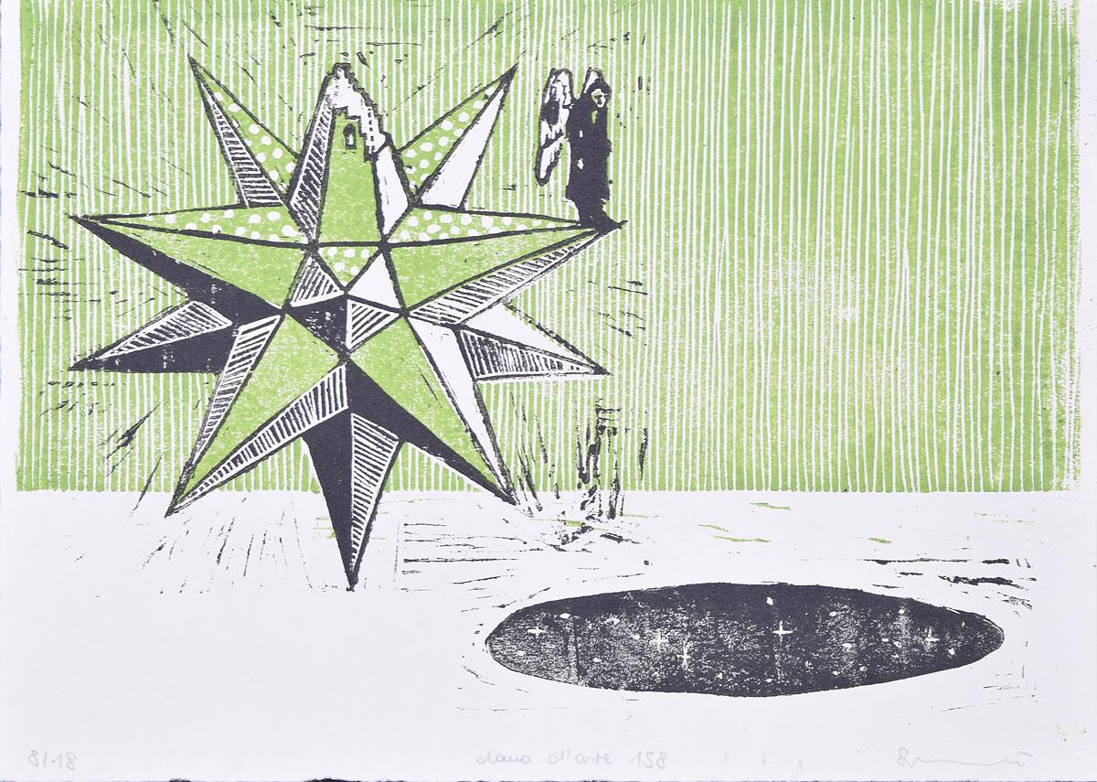stampa da linoleum con solido in verde e nero