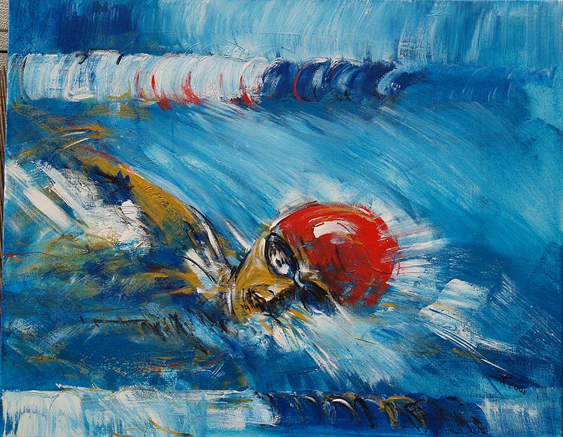Serie SportMotivation, Expressionismus, Malerei, Schwimmer