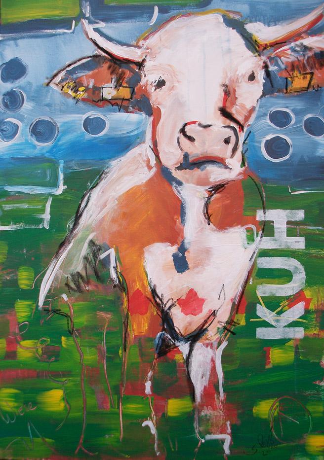 Expressionismus, moderne Malerei, Motiv Kuh Eins, Zu bestellen als Kunstdruck in meinem Shop