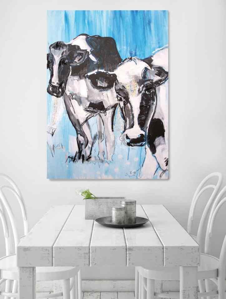 Kuh, Druck nach Originalmalerei von Stefanie Rogge, moderne Bilder für die Küche, Küchenbilder