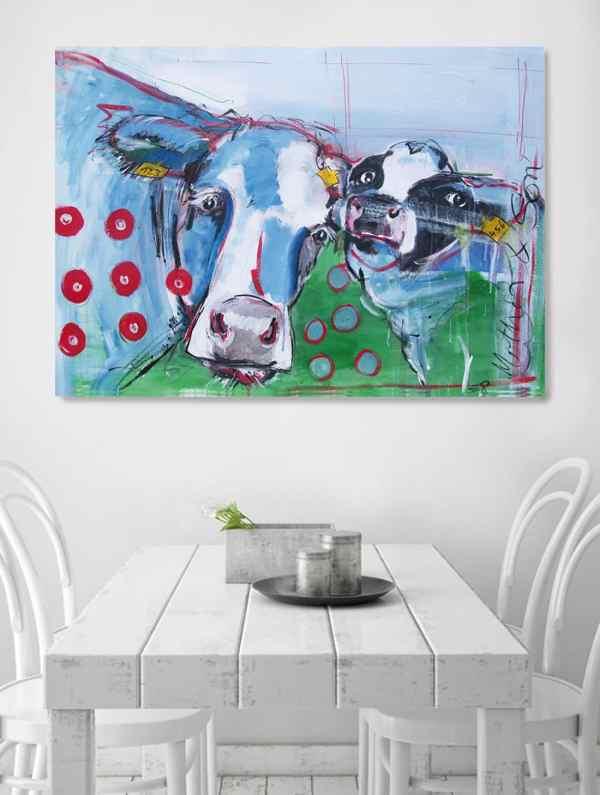 Kunstdruck Kuh und Kalb, moderne Malerei
