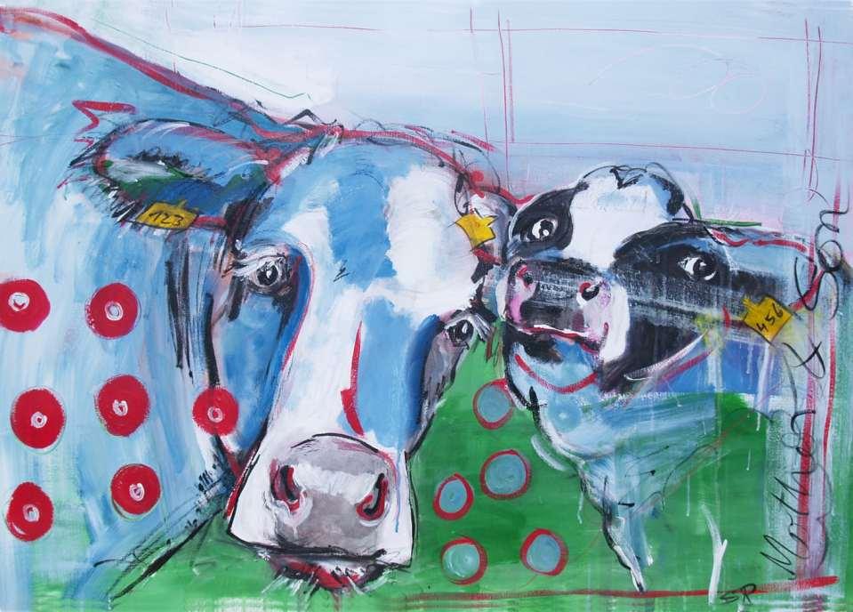 Expressionismus, moderne Malerei, Kunstdruck Kuh