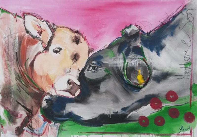 Malerei expressiv, Kuh und Kalb