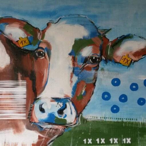 expressives Gemälde Kuh 1X von Stefanie Rogge aus der Serie Kühe codiert