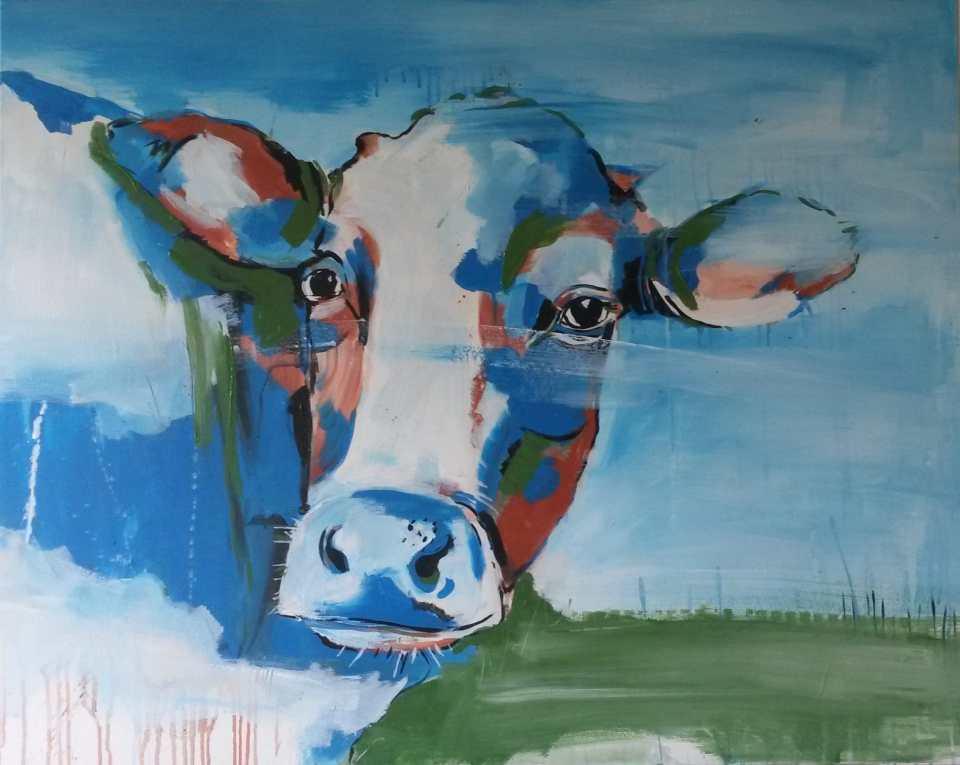 Kuh 1 X aus der Serie Kühe codiert, Malerei Stefanie Rogge